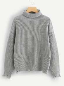 Rolled Neck Raw Hem Jumper