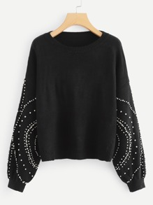Allover Beading Bishop Sleeve Jumper