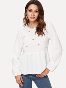 Lantern Sleeve Embroidered Smock Top