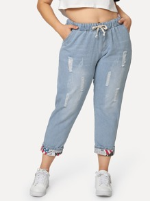 Plus Tie Waist Ripped Jeans