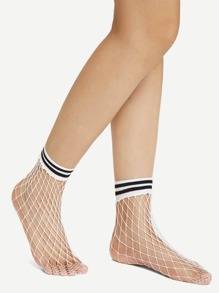 Striped Hem Net Socks
