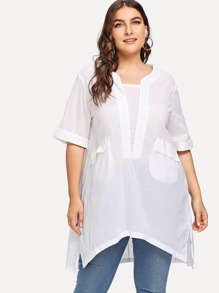 Plus Asymmetrical Hem Split Blouse