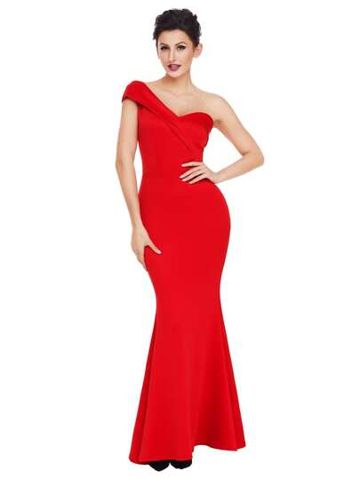 One Shoulder Foldover Fishtail Maxi Formal Dress