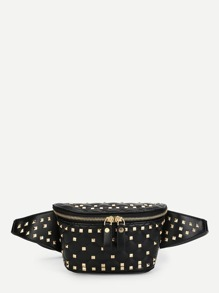 Studded Decorated Double Zipper Bum Bag