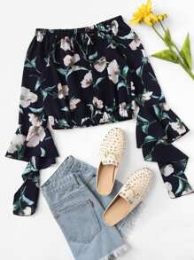 Off Shoulder Floral Print Fluted Sleeve Top