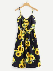 Sunflower Print Single Breasted Cami Dress