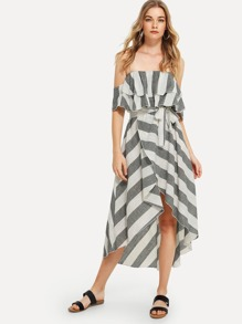 Ruffle Hem Striped Tube Dress