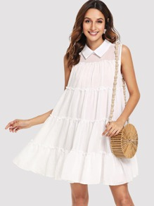 Contrast Collar Tiered Ruffle Swing Dress