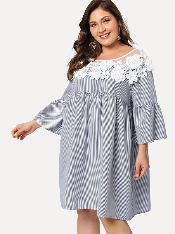 Plus Floral Lace Yoke Pinstripe Smock Dress