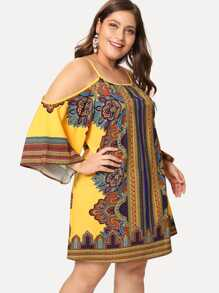 Plus Geo Print Kimono Sleeve Cold Shoulder Dress