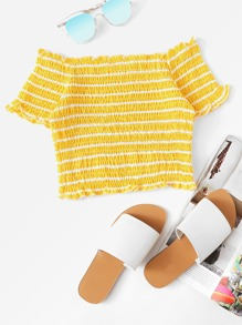 Frill Trim Striped Shirred Crop Top