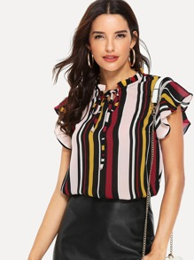 Ruffle Sleeve Tie Neck Striped Blouse