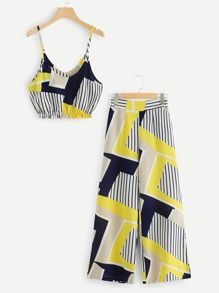 Striped Color Block Cami With Pants