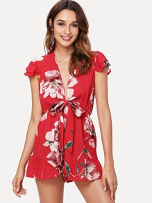 Flower Print Ruffle Armhole Plunging Neck Romper