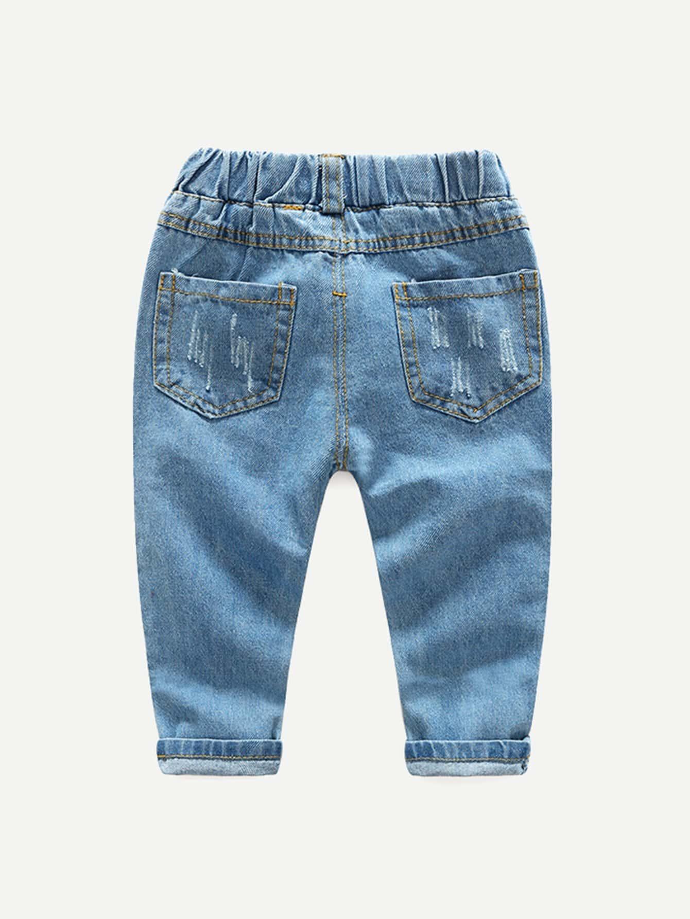 kinder zerrissene jeans mit hund muster shein. Black Bedroom Furniture Sets. Home Design Ideas