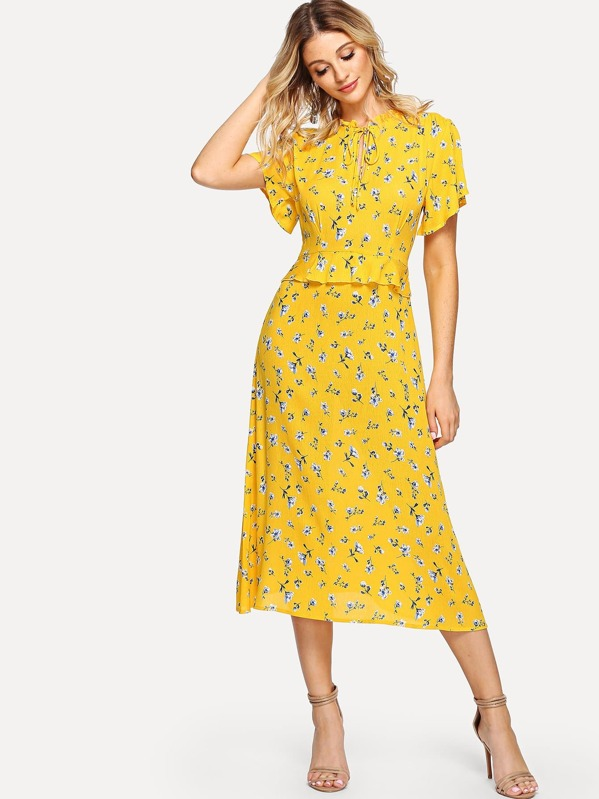 f2a0b3eb9e Flounce Sleeve Ruffle Trim Floral Print Dress