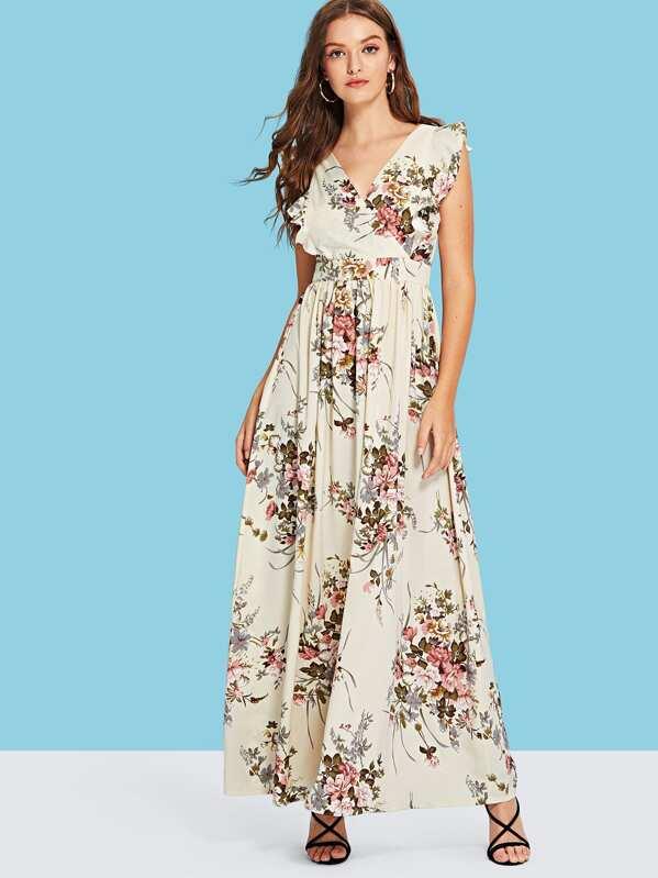 147211af92 Knot Open Back Ruffle Armhole Surplice Wrap Dress | SHEIN UK