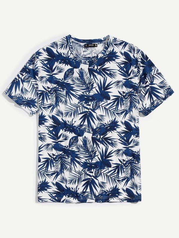 5e746285eee Men Palm Leaf Print T-shirt