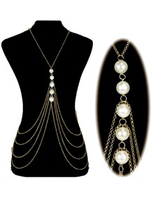 Faux Pearl Decorated Layered Body Chain