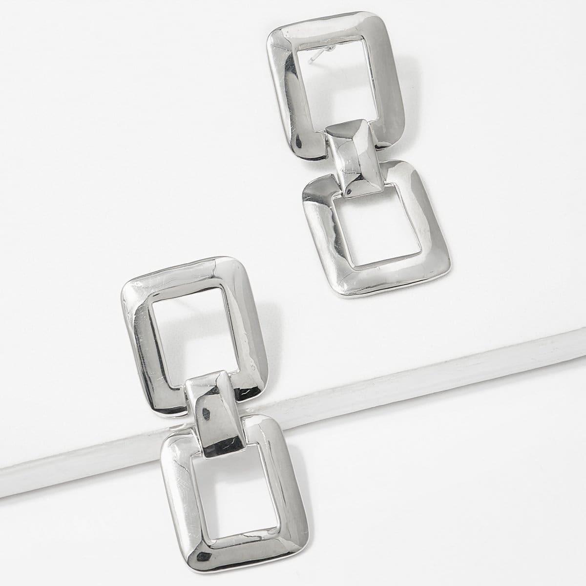 - Double Square Design Drop Earrings