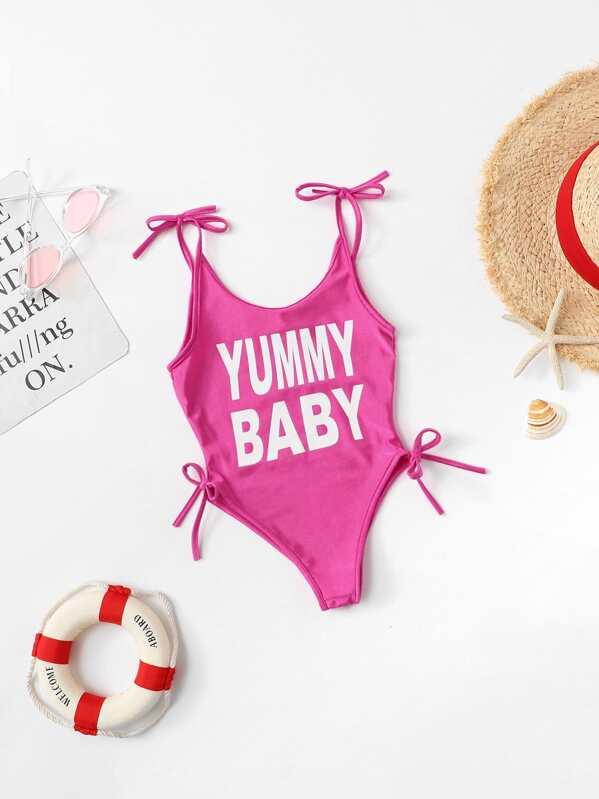 121031e09c Toddler Girls Letter Print Swimsuit   SHEIN