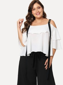 Plus Open Shoulder Ruffle Blouse