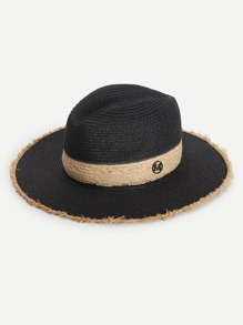 Frayed Trim Straw Hat