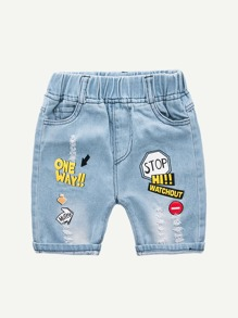Toddler Boys Letter Print Destroyed Denim Shorts