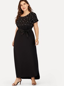 Plus Tie Waist Pearl Beaded Dress