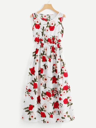 Shirred Waist Floral Midi Dress