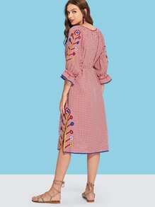 Floral Embroidered Checked Dress