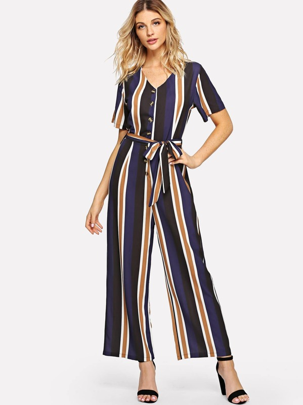 45de9b68ff9 Single Breasted Self Tie Waist Striped Jumpsuit