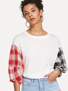 Contrast Checked Tee
