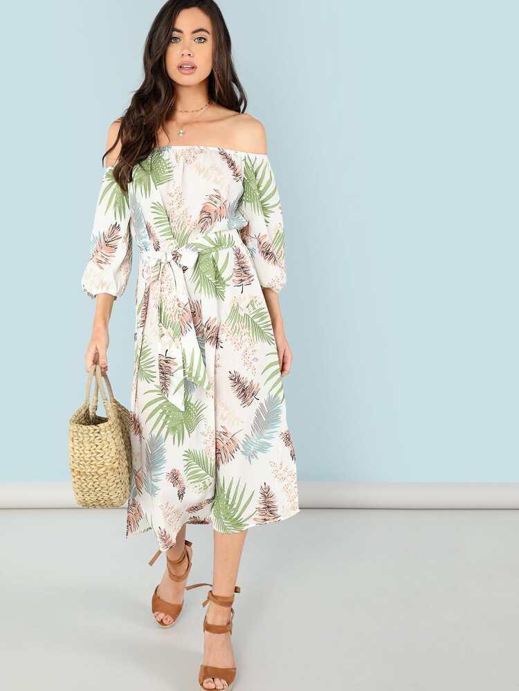 50fb52f9a2ba4 Tropical Print Bishop Sleeve Dress