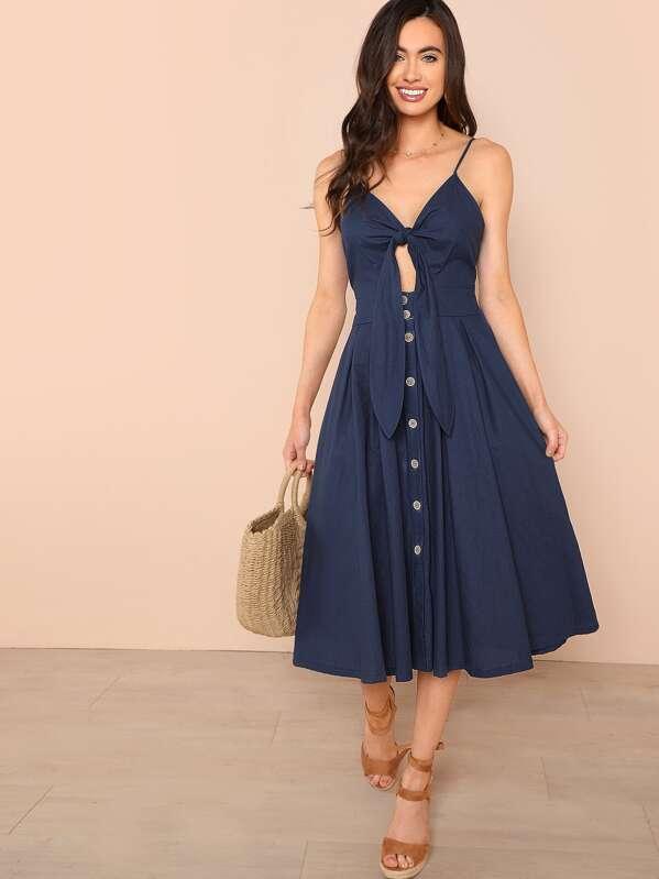 a0147a12aa Bow Tie Button Through Peekaboo Cami Dress | SHEIN