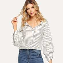 Gathered Sleeve Pinstripe Shirt