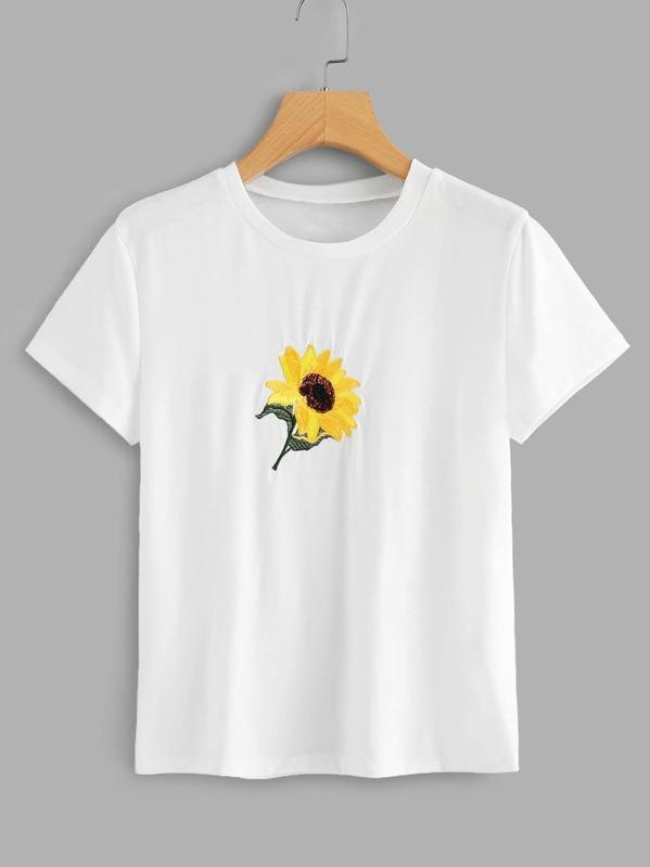 0bc145e40 Camiseta aplique con bordado de girasol | SHEIN ES