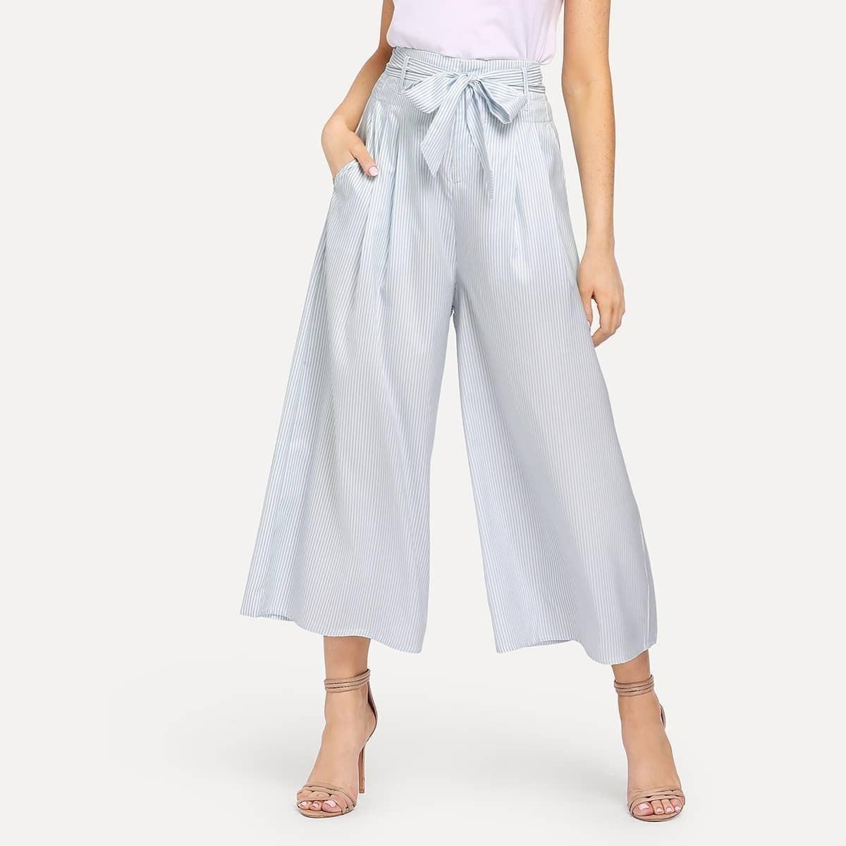 - VerticalStriped Culotte Pants