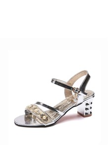 Faux Pearl Decor Heeled Sandals
