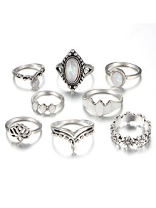 Flower Detail Gemstone Rings Set 8pcs