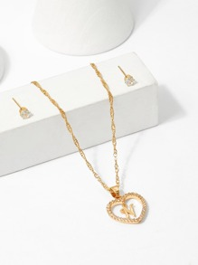 Hollow Heart Pendant Necklace & Earrings Set