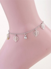 Hollow Leaf Decorated Chain Anklet