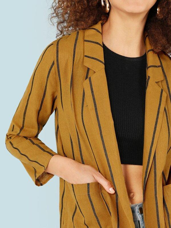 6ec3ad95e326 Stripe Open Front Blazer with Dual Pockets | SHEIN