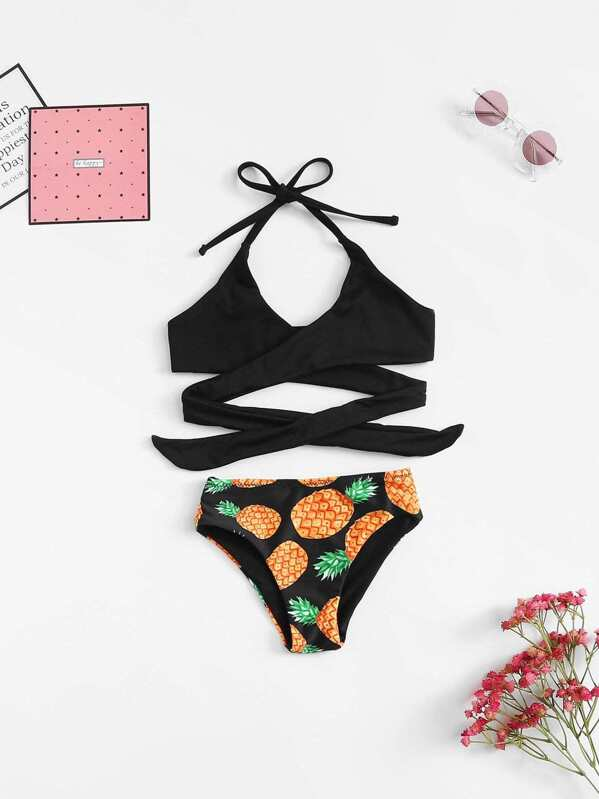 a3022ea74c Toddler Girls Pineapple Print Wrap Bikini Set   SHEIN UK