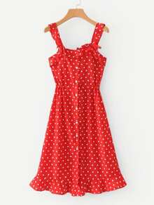 Frill Trim Spot Dress
