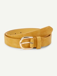 Metal Buckle Suede Belt