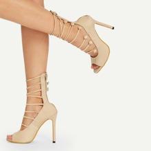 Peep Toe Suede High Heels