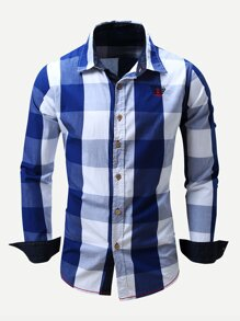 Men Embroidery Detail Roll-Up Sleeve Plaid Shirt