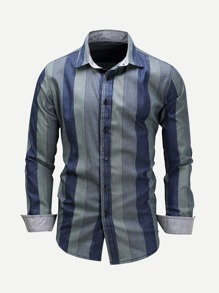 Men Roll-Up Sleeve Striped Collar Shirt