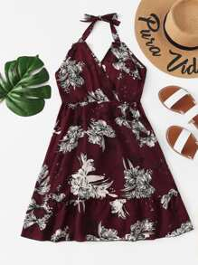 Open Back Floral Halter Dress